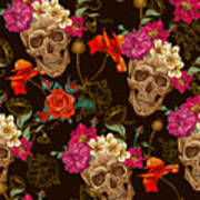 Brown Skulls And Flowers Poster