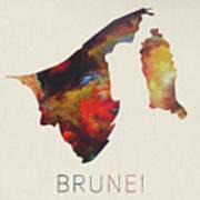 Brunei Watercolor Map Poster