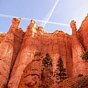 Bryce Canyon Hoodoos With Contrails Poster
