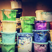 Buckets Of Liquid Paint Standing In A Workshop. Poster