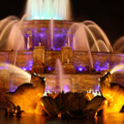 Buckingham Fountain At Night Poster