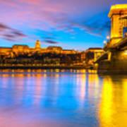 Budapest - Chain Bridge And Buda Castle -  Hungary Poster