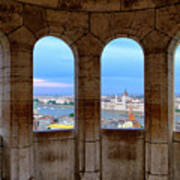 Budapest Parliament From The Fishermans Bastion Poster