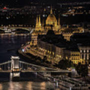 Budapest View At Night Poster