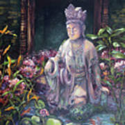 Budda Statue And Pond Poster