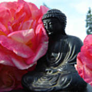 Buddha And Roses Poster