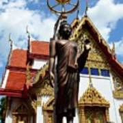 Buddha Statue With Sunshade Outside Temple Hat Yai Thailand Poster