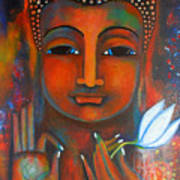 Buddha With A White Lotus In Earthy Tones Poster by Prerna Poojara