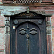 Buddha's Eyes On Nepalese Wooden Door Poster