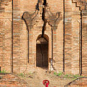 Buddhist Novice Are Walking In Temple Poster