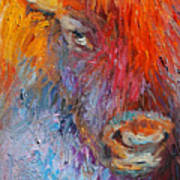 Buffalo Bison Wild Life Oil Painting Print Poster