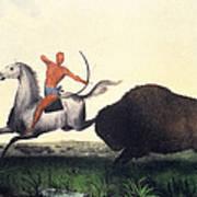 Buffalo Hunt, 1832 Poster