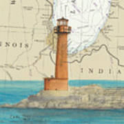 Buffington Harbor Lighthouse In Nautical Chart Map Poster