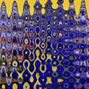 Building Of Circles And Waves Colored Yellow And Blue Poster