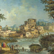 Buildings And Figures Near A River With Rapids Poster