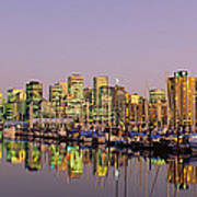 Buildings Lit Up At Dusk, Vancouver Poster