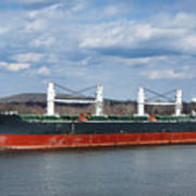 Bulk Carrier Cargo Ship Sailing On River Poster