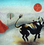 Bull With Sun Poster