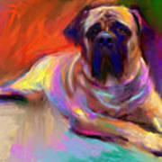 Bullmastiff Dog Painting Poster