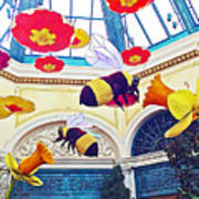 Bumble Bees And Poppies In Bellagio Conservatory In Las Vegas-nevada Poster
