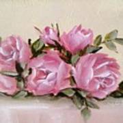 Bunch Of Pink Roses Painting Poster