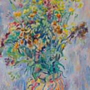 Bunch Of Wild Flowers In A Vase Poster