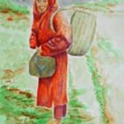 Bundled And Barefoot -- Portrait Of Old Asian Woman Outdoors Poster
