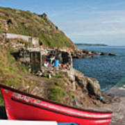 Bunty In Priest's Cove Cape Cornwall Poster