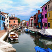 Burano Canal And Homes Poster