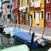 Burano Corner With Laundry Poster
