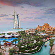 Burj Al Arab Hotel And Madinat Jumeirah Resort Poster by Jeremy Woodhouse