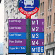Bus Stop Sign In New York City Poster