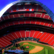 Busch Stadium A Zoomed View From The Arch Merged Image Poster