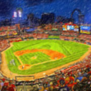 Busch Stadium At Night Rocks Poster