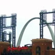 Busch Stadium With Arch Poster