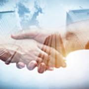 Business Handshake Over Modern Skyscrapers, Double Exposure. Poster