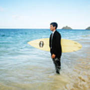 Business Man At The Beach With Surfboard Poster