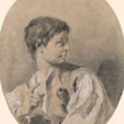 Bust Of A Boy In Profile Holding A Sword Poster