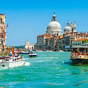 Busy Canal Grande In Venice Poster