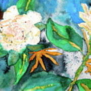 Busy Gardenias Poster