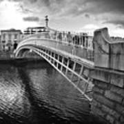 Busy Ha'penny Bridge 2 Bw Poster