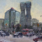 Busy Morning In Downtown Mississauga Poster