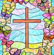 Butterflies And Cross Poster