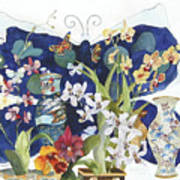 Butterflies And Orchids Poster