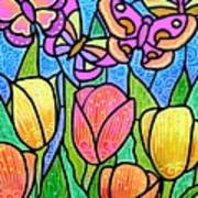 Butterflies In The Tulip Garden Poster