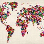 Butterflies Map Of The World Poster by Michael Tompsett