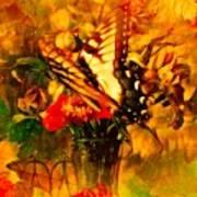 Butterfly Atop Flower Arrangement Poster