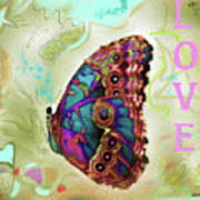 Butterfly In Beige And Teal Poster