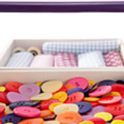 Buttons And Textile Fabrics In A Sewing Box Poster