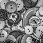 Buttons In Black And White Poster